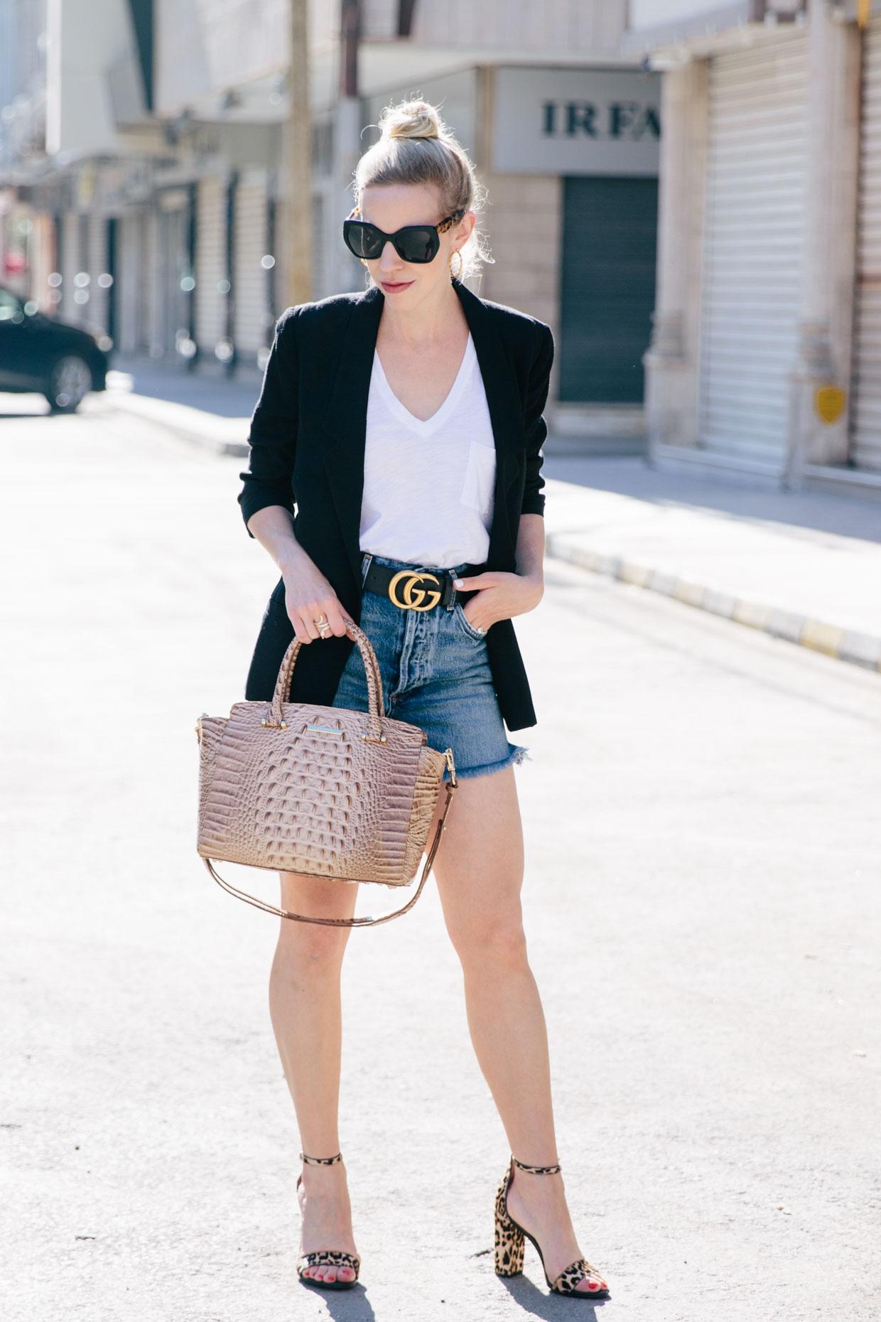0a3de133204 Meagan Brandon fashion blogger of Meagan s Moda wears black boyfriend  blazer white white tee
