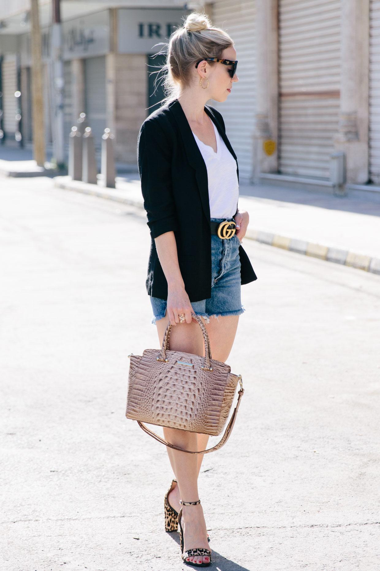 7ea53e73a9d Meagan Brandon fashion blogger of Meagan s Moda wears black boyfriend  blazer with white tee