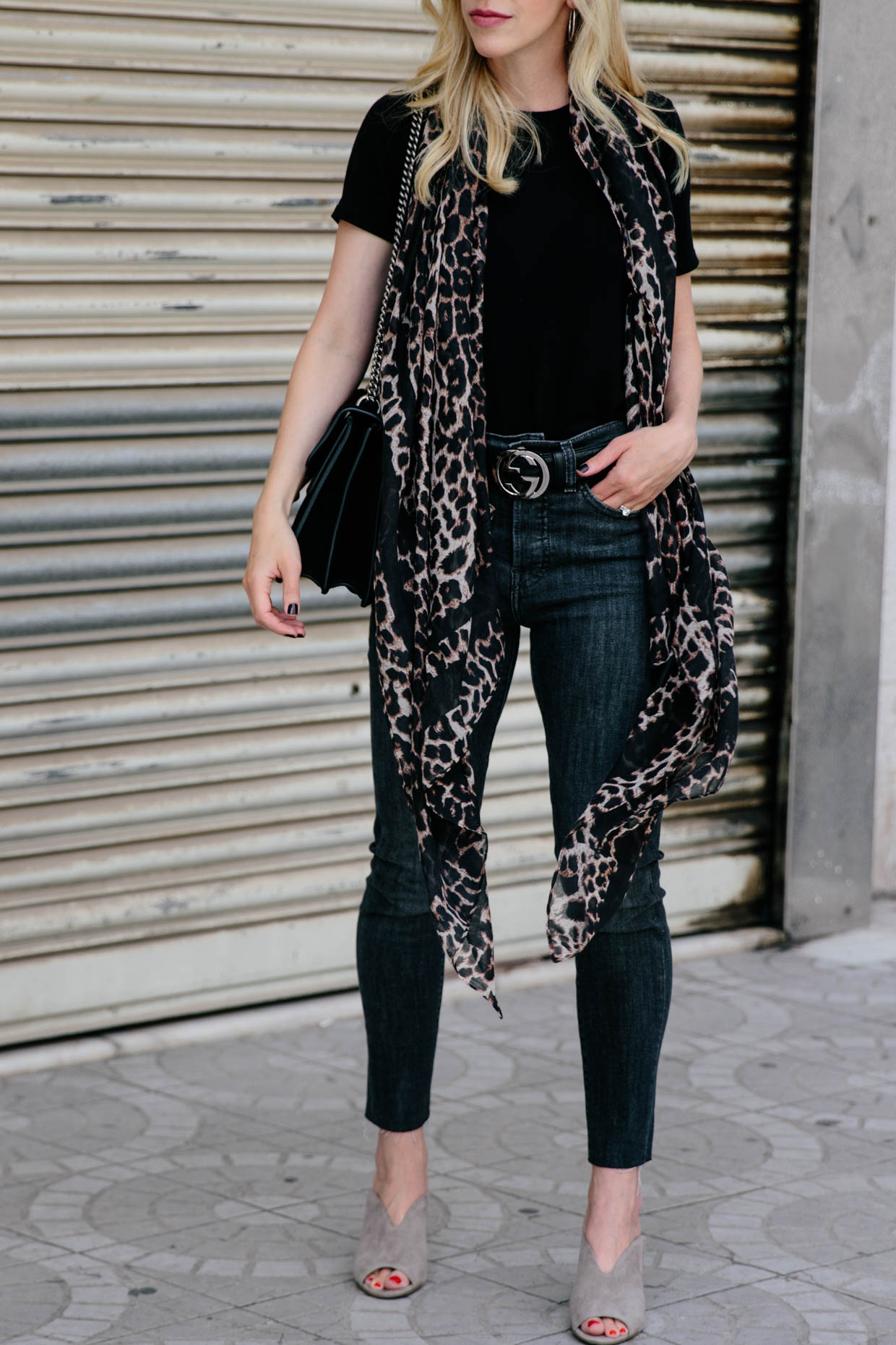 351dee79675 Meagan Brandon fashion blogger of Meagan s Moda wears leopard print scarf  with black bodysuit