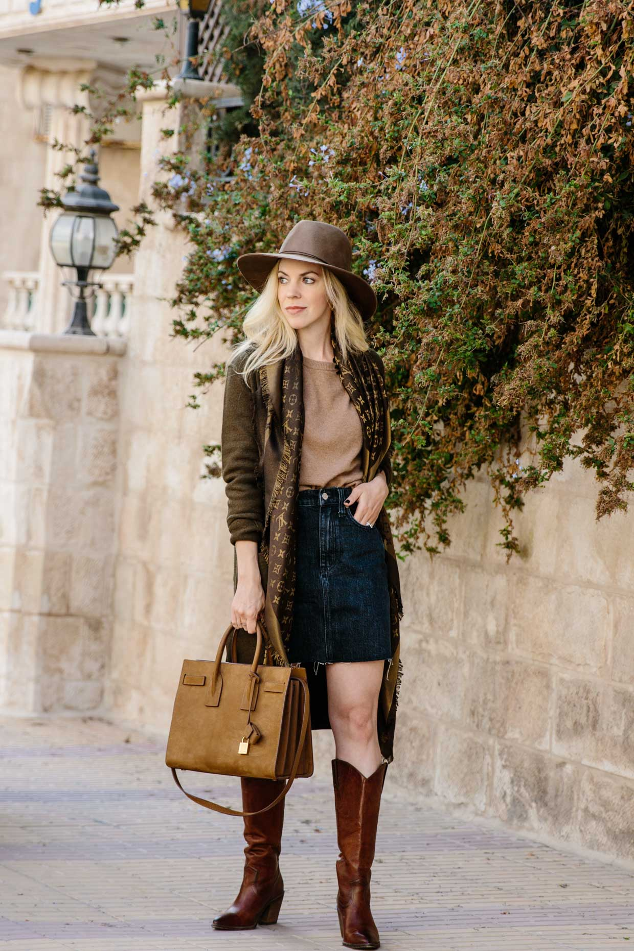 Neutral Fall Layering Sweater Coat With Denim Skirt And