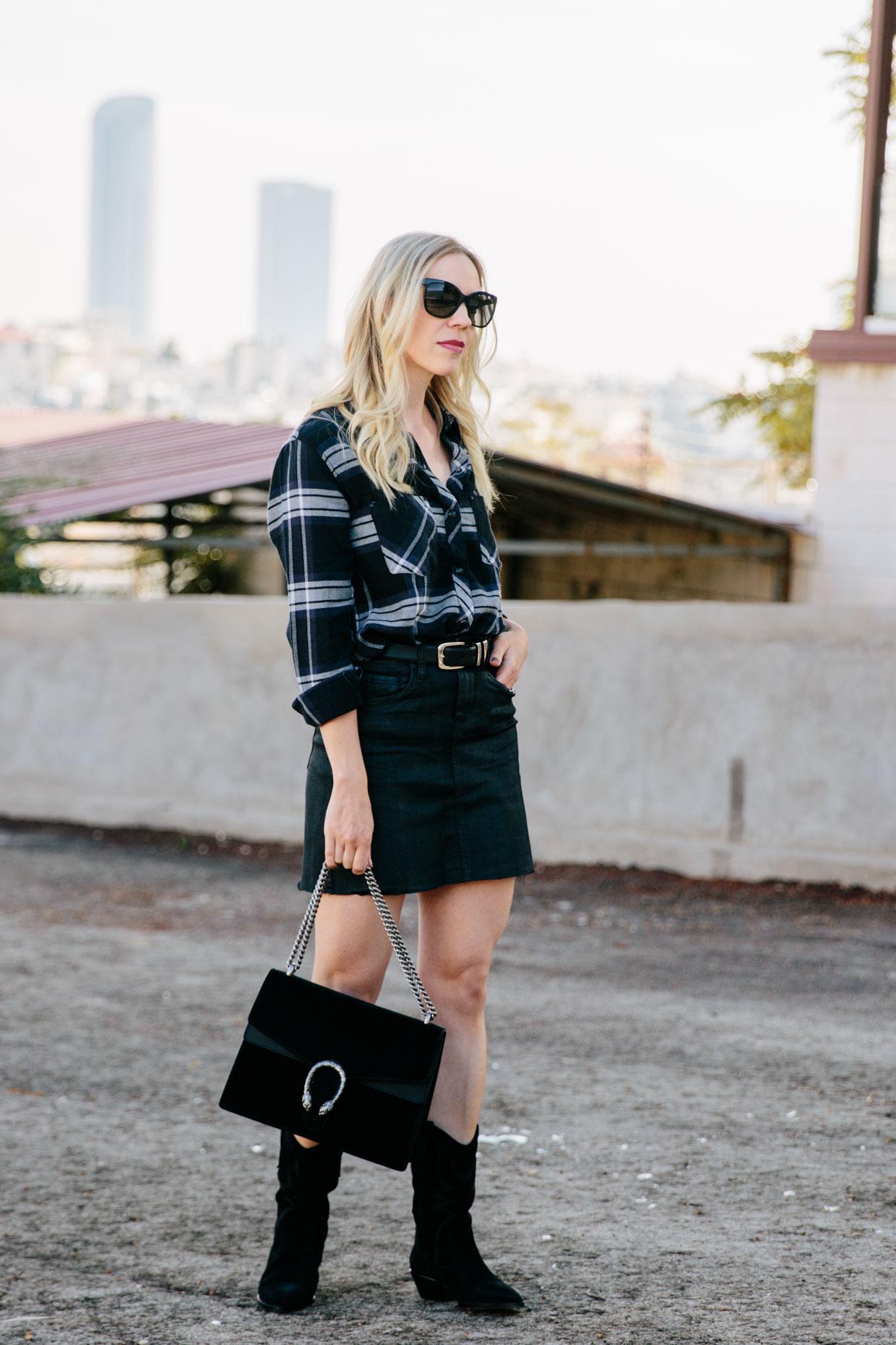 Urban Cowgirl: Plaid Shirt and Coated Denim Skirt - Meagan's Moda