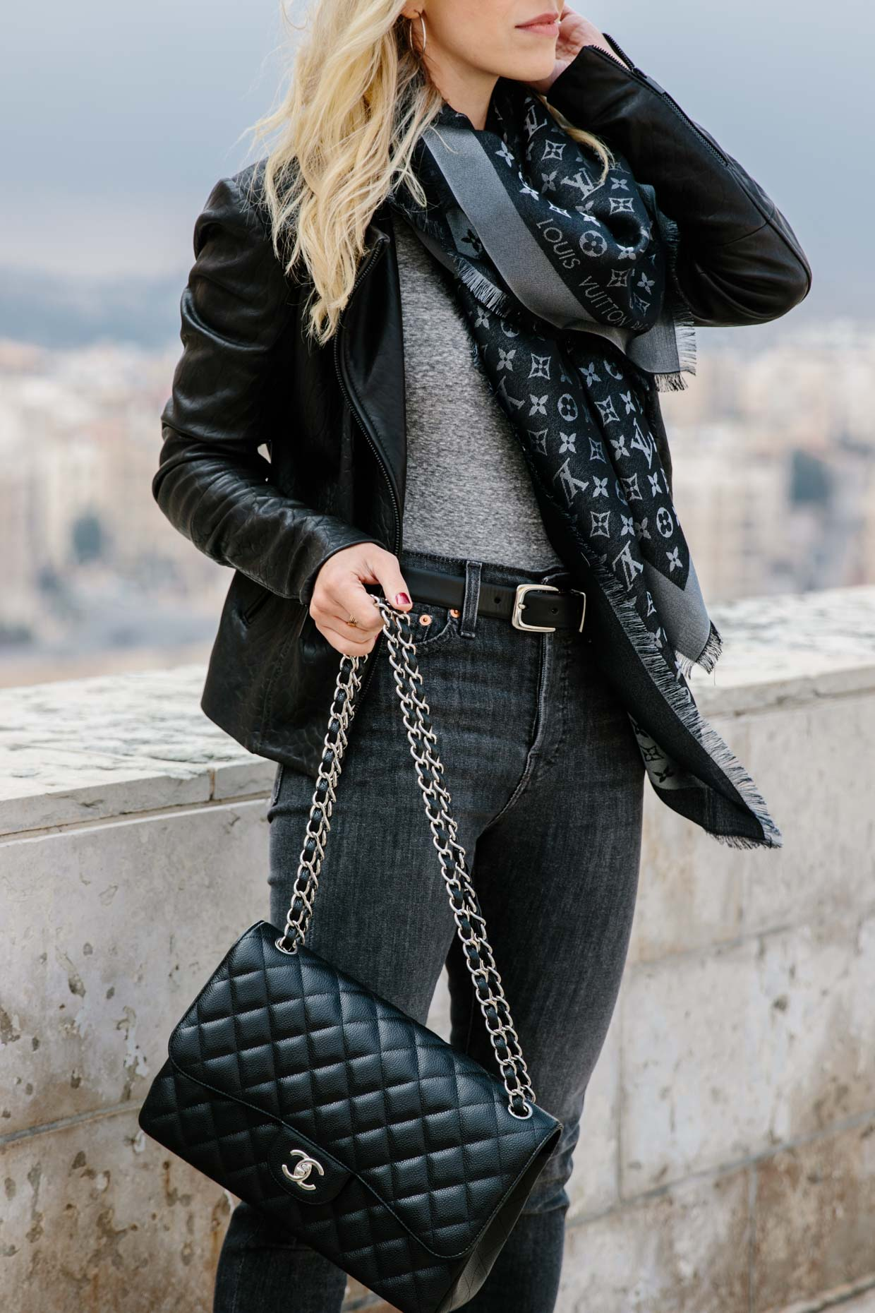 a10e805ea1996 How to style a Louis Vuitton scarf with a leather jacket and gray denim