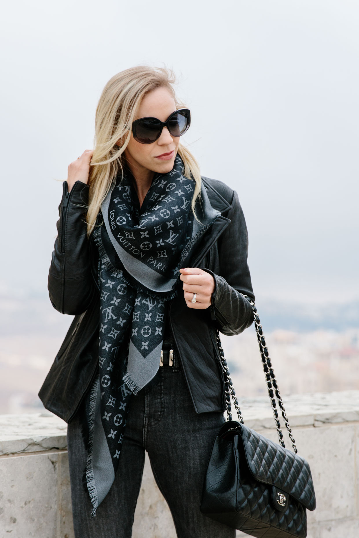 4e14f8ea8879 Stormy leather moto jacket with louis vuitton scarf and gray denim jpg  1240x1860 Denim lv scarf