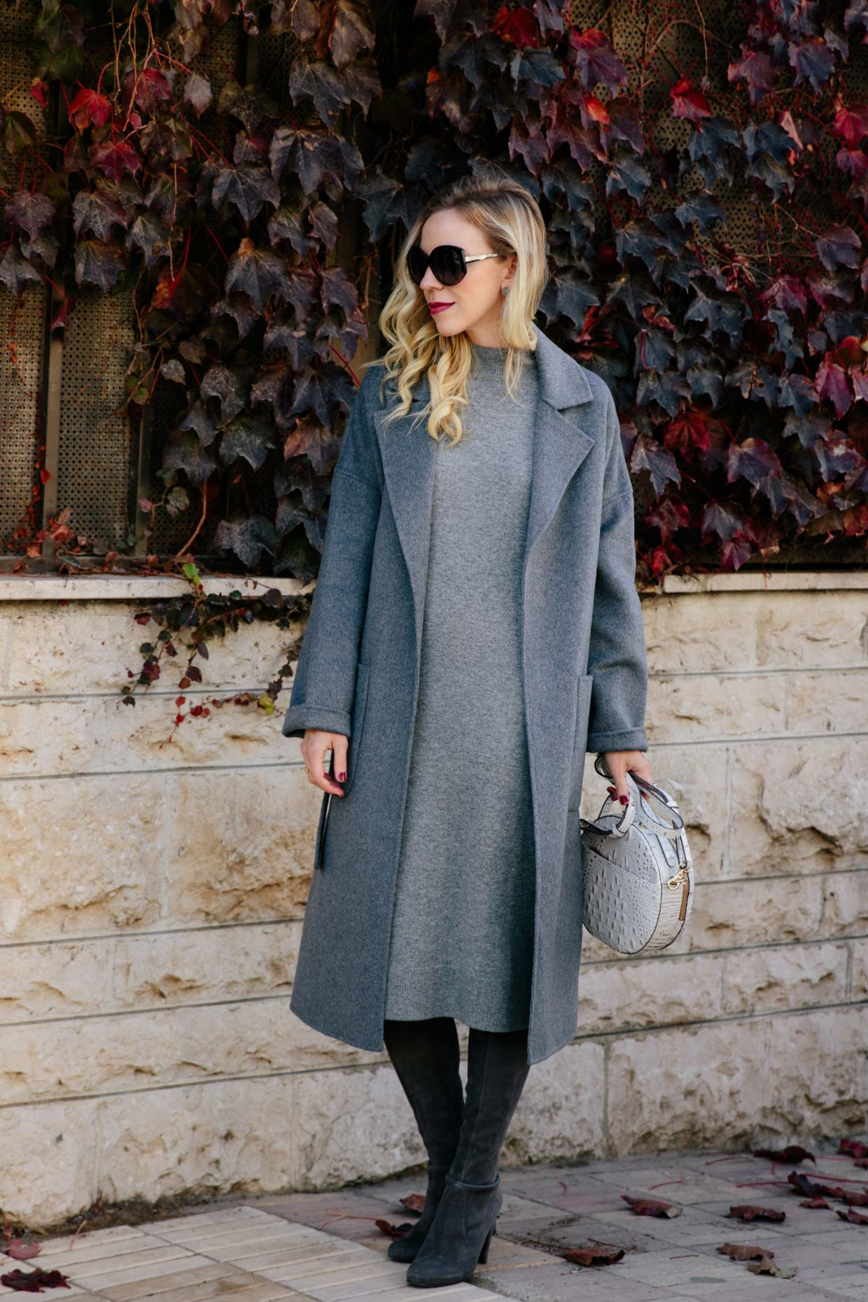 Monochromatic Gray Wrap Coat Sweater Dress Amp Over The