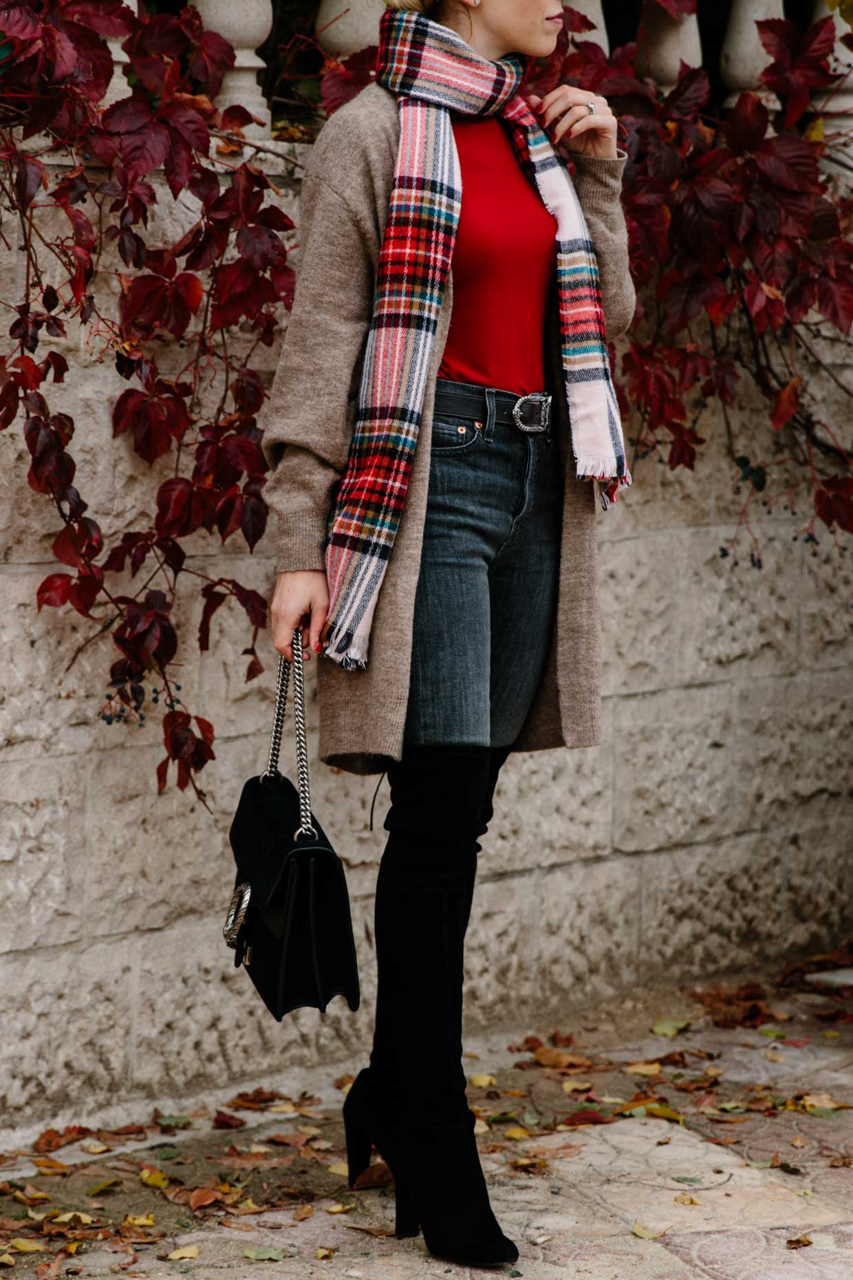 c63f0aea300 Meagan Brandon fashion blogger of Meagan s Moda wears red plaid scarf with  long tan cardigan