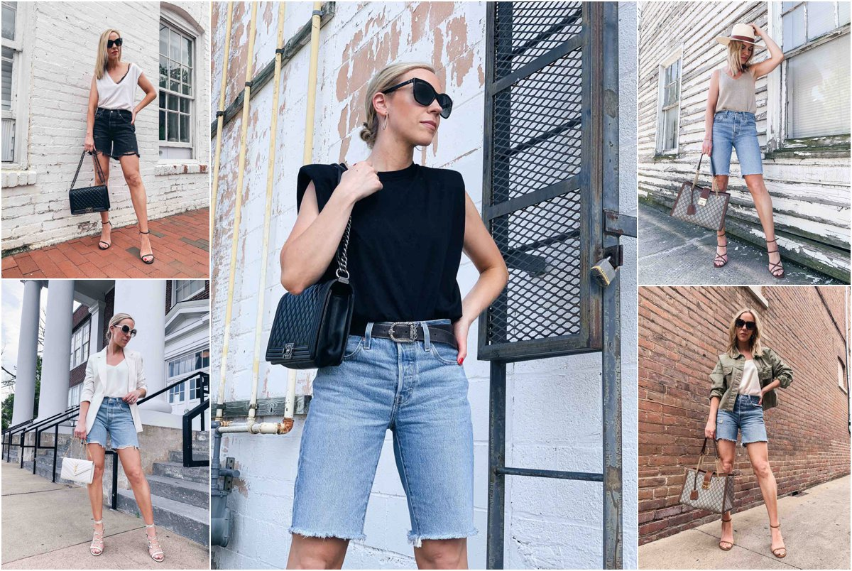 The Most Flattering Way to Wear Denim Bermuda Shorts & Outfit